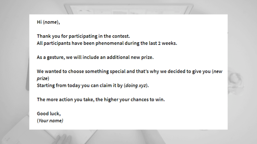 Giveaway email template - new prize added template