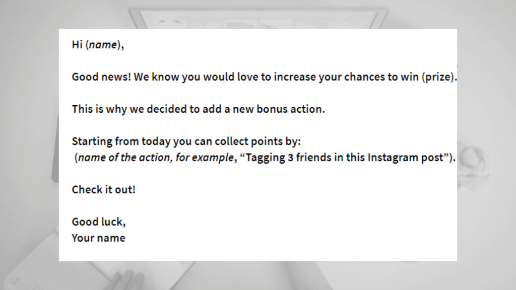 Contest email template for a new bonus action