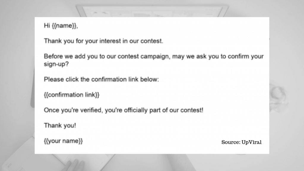 Giveaway confirmation email